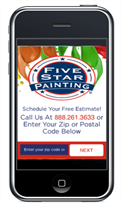 Cell phone screen browsing Five Star Painting website