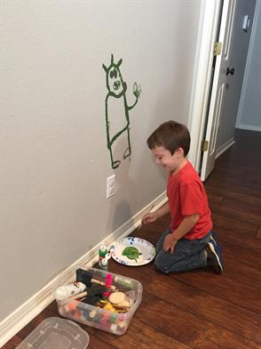 kid painted on wall
