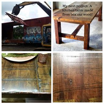 Four pictures of a wooden table project