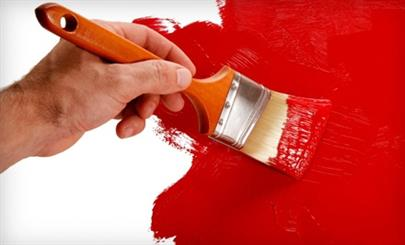 Brush Painting a Red Wall
