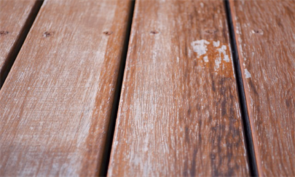 Weathered wood deck floor boards