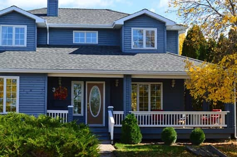 Home Exterior Painted Dark Blue
