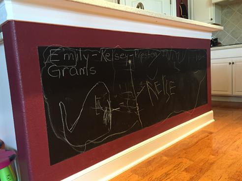 Chalkboard on Kitchen Island