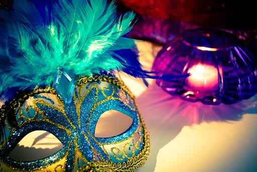 mardi gras masks blues purples yellows