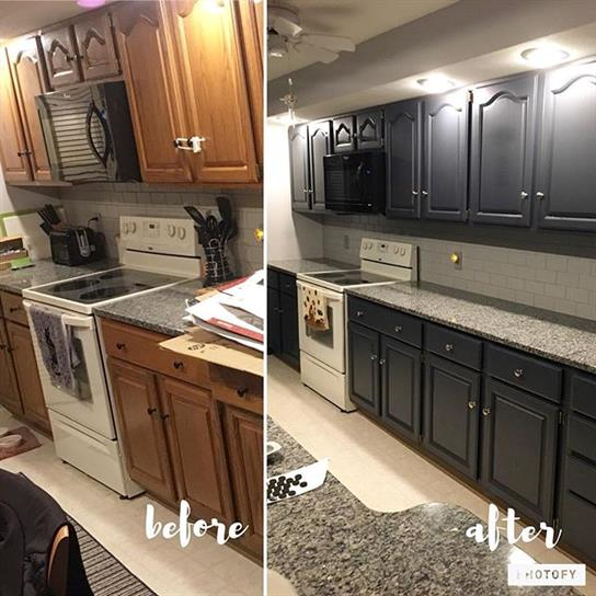 Before and After of Kitchen Cabinets Being Painted Dark Gray