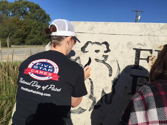 Cindy, Ray and Nolan Praesel, Five Star Painting of Waco, TX Proprietors Paint the Fuzzy Friends Sign