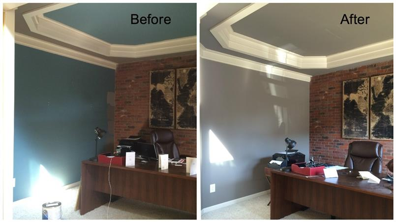 Before and after picture of office painting project