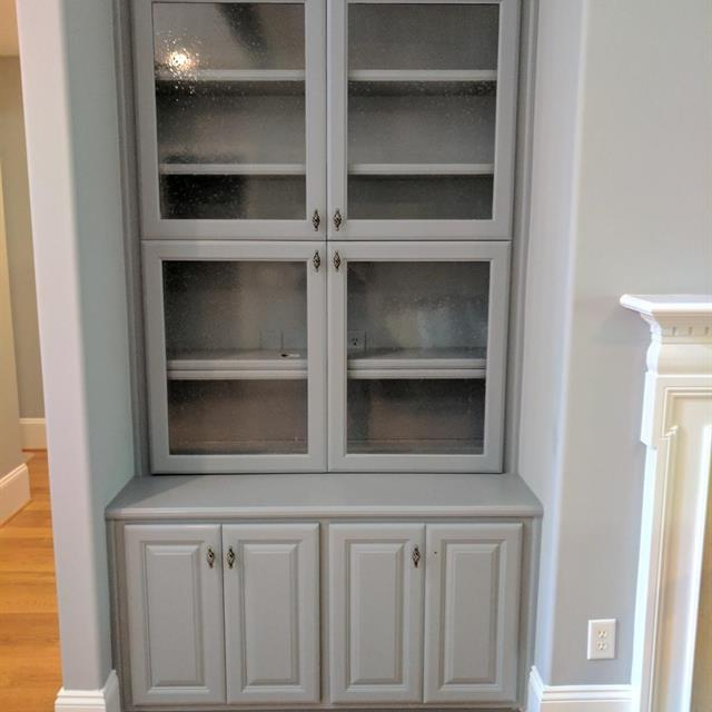 Dish cabinet painted blue gray