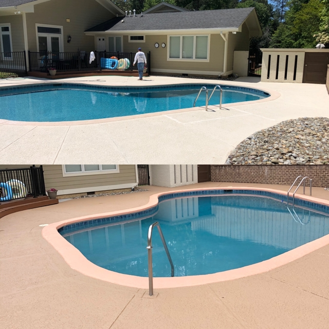 exterior before and after pool painted