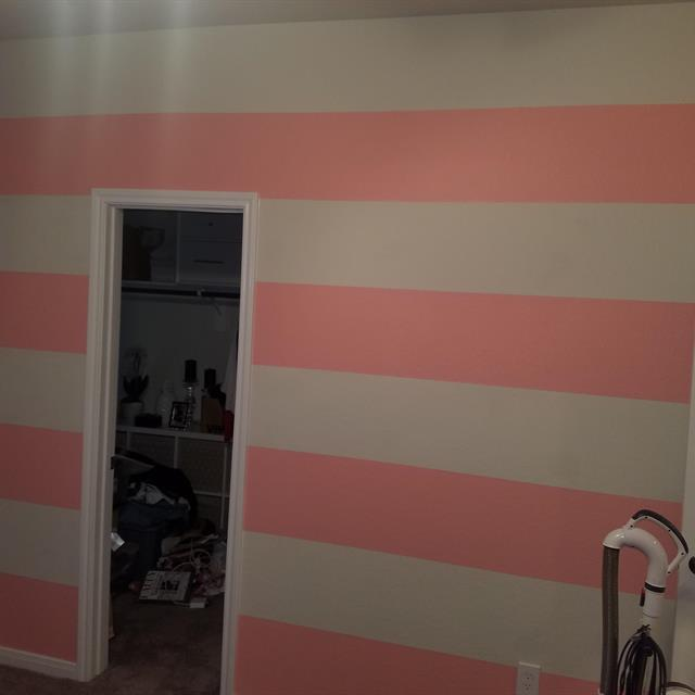 Wall Painted in Pink Stripes