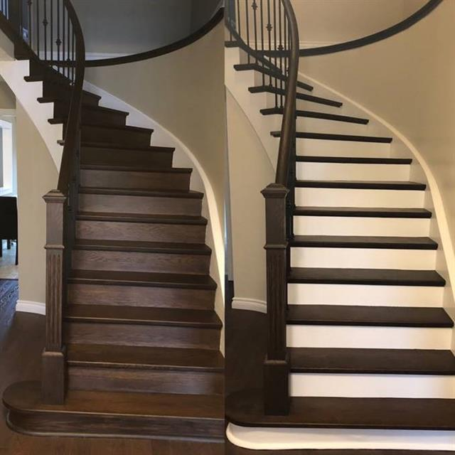 Before and after staircase paint job