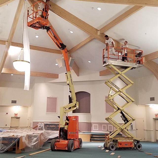Church ceiling being repainted