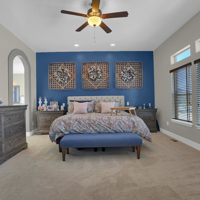 home bedroom with blue contrast walls