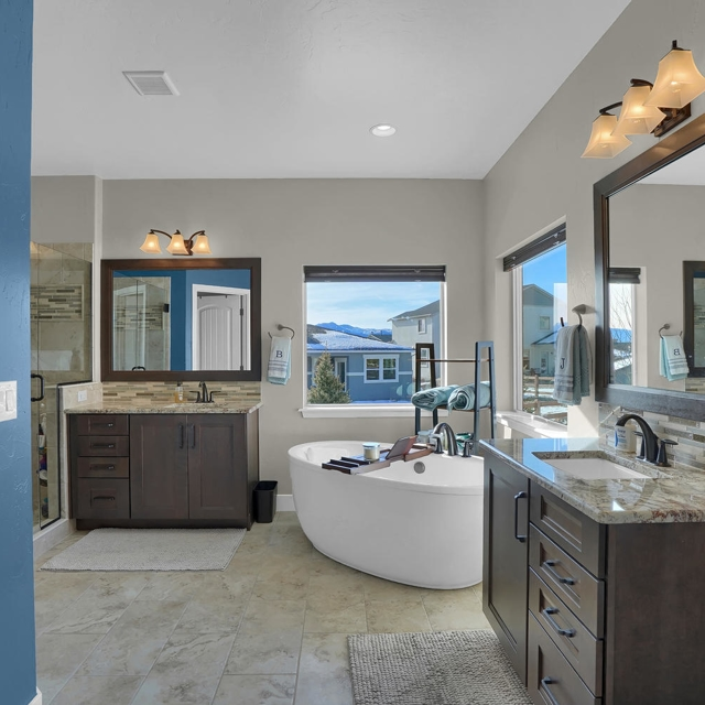 home bathroom with blue contrast walls