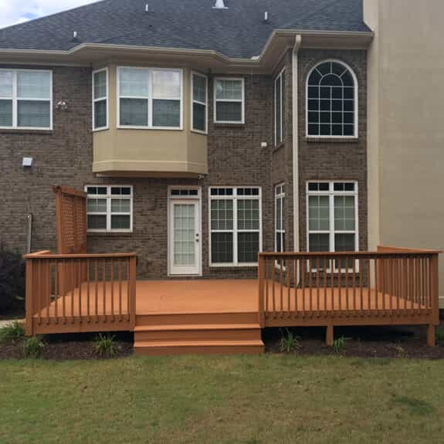 Exterior home with wood deck