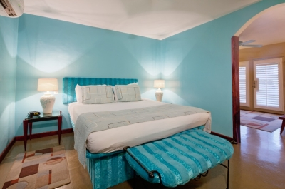 Master bedroom with light blue walls