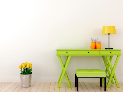 Green Desk with Flowers