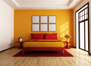 Bedroom With Orange Accent Wall