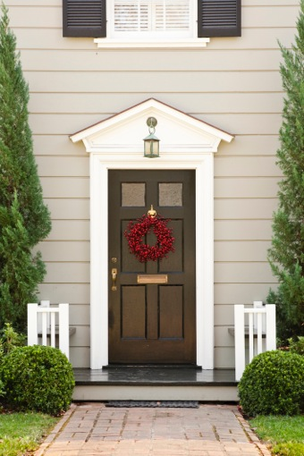 Dark Brown Door with White Molding