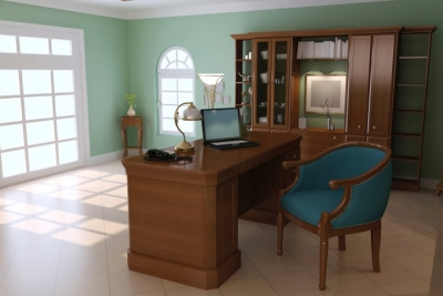 Office with bright and cheery mint green walls