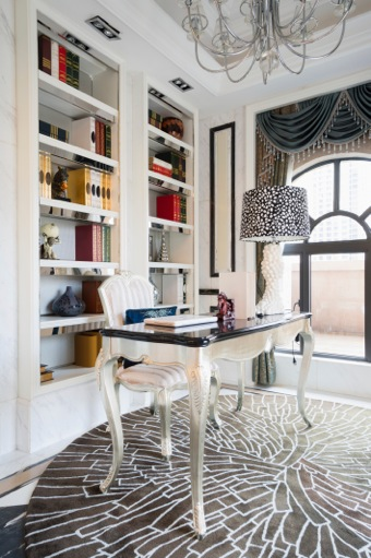 Classic office with white and black standalone desk