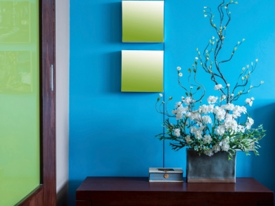 Blue Wall in a Family Room