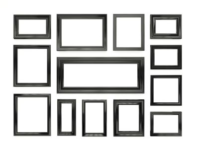 Black Picture Frames Organized on a Wall