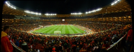 Mane Garrincha National Stadium, Brasilia Filled with People During a Match