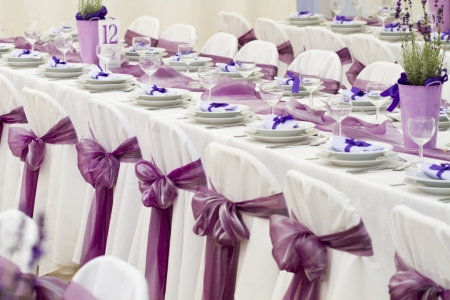 Wedding Table Adorned with Lavender Colored Placements