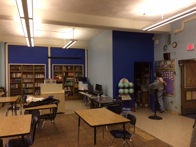 Two-toned Blue Walls in Reggie Jackson's Literacy Lounge