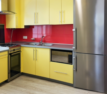 Yellow Cabinets in a Kitchen