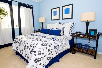 Bedroom with calming blue walls and furnishings