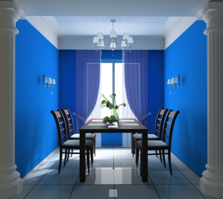 Dining room with cobalt blue painted walls