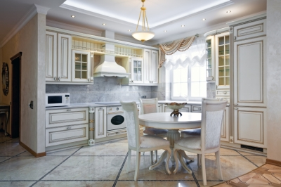 White Kitchen with Colorful Accented Backsplash and Flooring