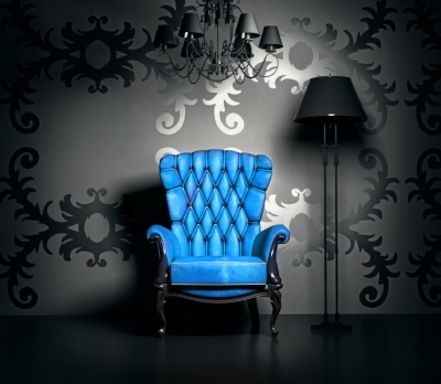 Black and Gray Painted Room with Bright Blue Accent Chair