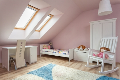 Light Pink Attic with White Trim and Rocking Chair
