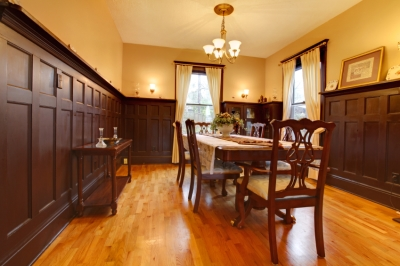 Mustard and Dark Brown Painted Dining Room