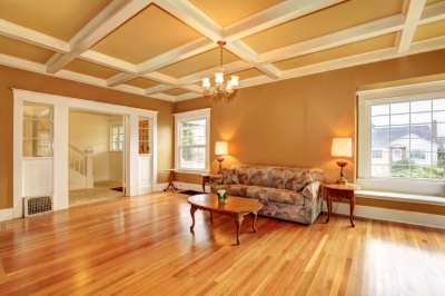 Large, Open Room with Warm-Colored Walls