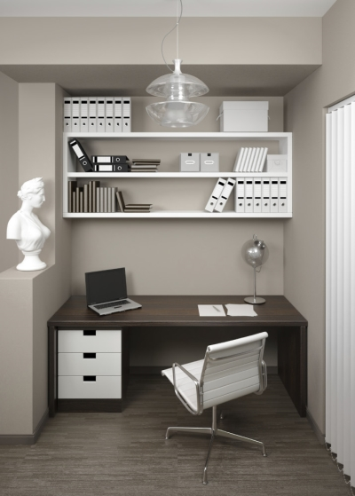 Large Desk Space with Small Laptop and Shelving