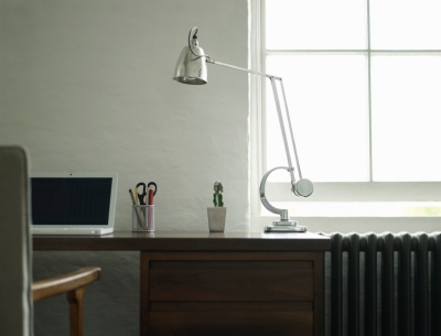 Clean Work Area with Laptop and Desk Lamp