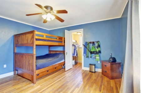 Blue Boy's Room with Loft Bed and Walk-in Closet