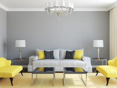 Dark Gray Room with Black and Yellow Furniture