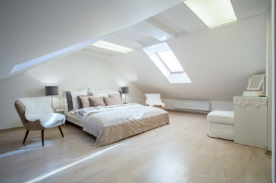 Large White Attic Transformed into Penthouse Suite