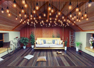 Attic with Dark Hardwood Flooring and Hanging Lights