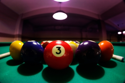 Closeup of Pool Balls on a Billiards Table