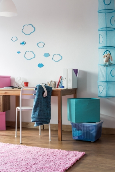 Tween Bedroom with Clouds Painted on Wall and Creative Shelving