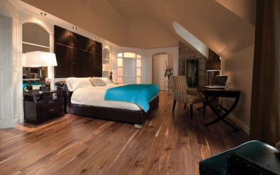 Beautiful bedroom with walnut floors