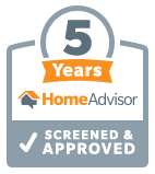 5 Years on Home Advisor Screened and Approved badge