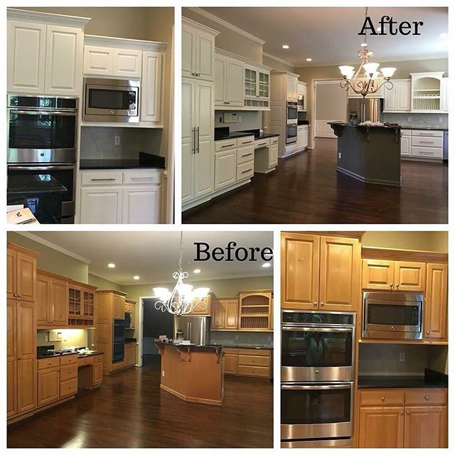 Before and After of Kitchen Cabinets Being Painted White