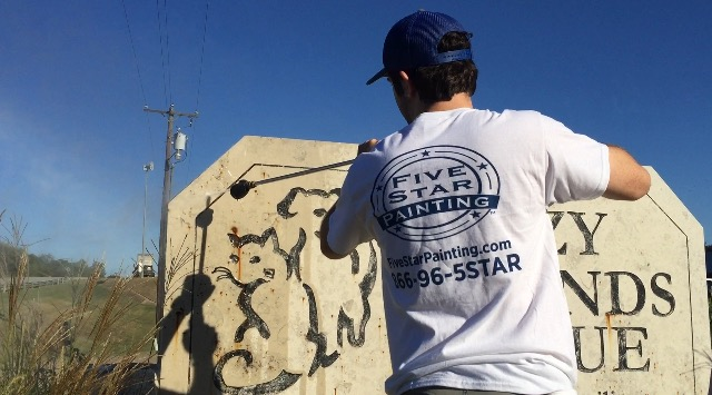 Five Star Painter Cleaning Fuzzy Friends Rescue Sign